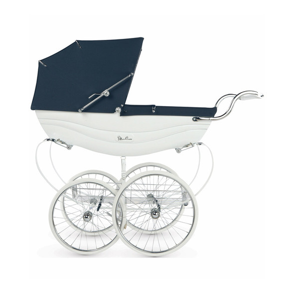Silver Cross Balmoral Pram Stroller in White / Navy