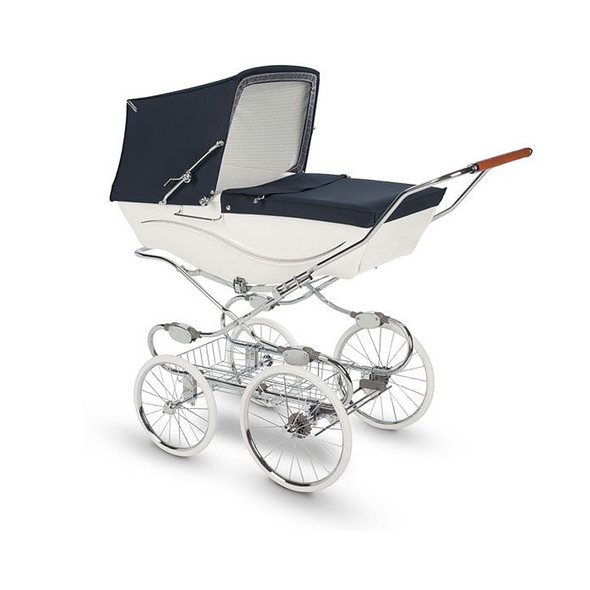 Silver Cross Kensington Complete Stroller in White / Navy