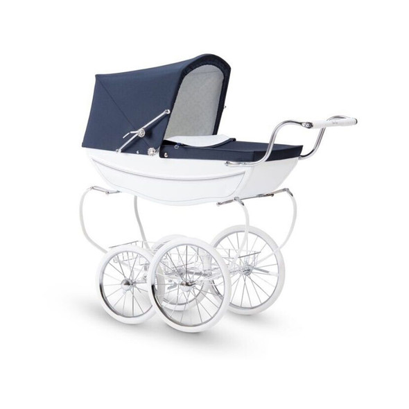Silver Cross Hand Crafted Princess Dolls Pram Stroller in White / Navy