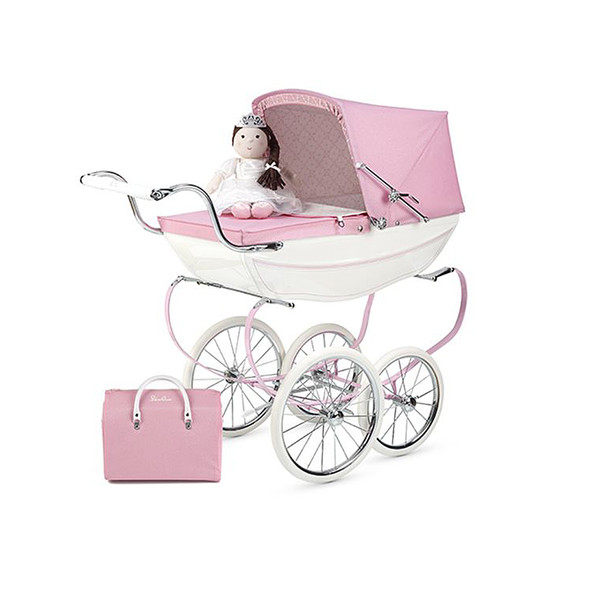 Silver Cross Hand Crafted Princess Dolls Pram Stroller in White / Pink