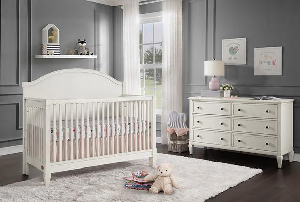 Oxford Baby Elizabeth 2 Piece Nursery Set - Crib and 6 Drawer Dresser in Vintage White