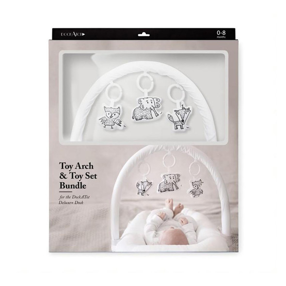 Dock A Tot Toy Cheeky Chums + Pristine White Arch Bundle