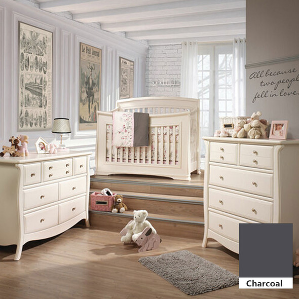 Natart Bella 3 Piece Nursery Set in Charcoal