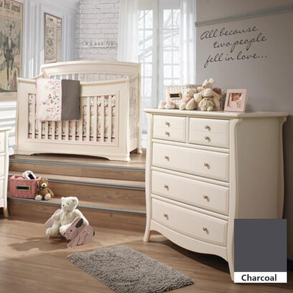 Natart Bella 2 Piece Nursery Set in Charcoal - Convertible Crib and 5 Drawer Dresser