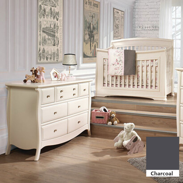 Natart Bella 2 Piece Nursery Set in Charcoal - Convertible Crib and Double Dresser