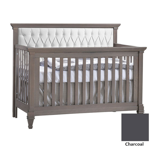 Natart Belmont 3 Piece Nursery Set in Charcoal - Convertible Crib w/ Tufted Panel Platinum, 5 Drawer, and Double Dresser