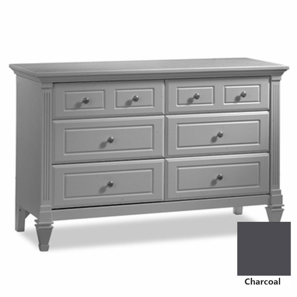 Natart Belmont 3 Piece Nursery Set in Charcoal - Convertible Crib w/ Upholstered Panel Blush, 5 Drawer, and Double Dresser