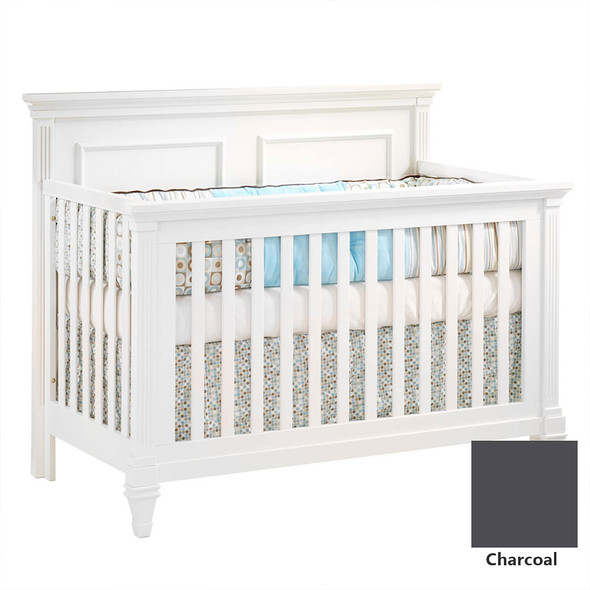 Natart Belmont 3 Piece Nursery Set in Charcoal - Convertible Crib w/ Upholstered Panel Linen, 5 Drawer, and Double Dresser