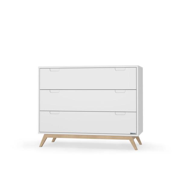 """Dadada Village 40"""" 3 Drawer Dresser in White And Natural"""