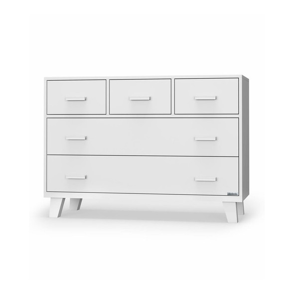 Dadada Boston 5-Drawer Dresser in White (With White And Natural Handles)