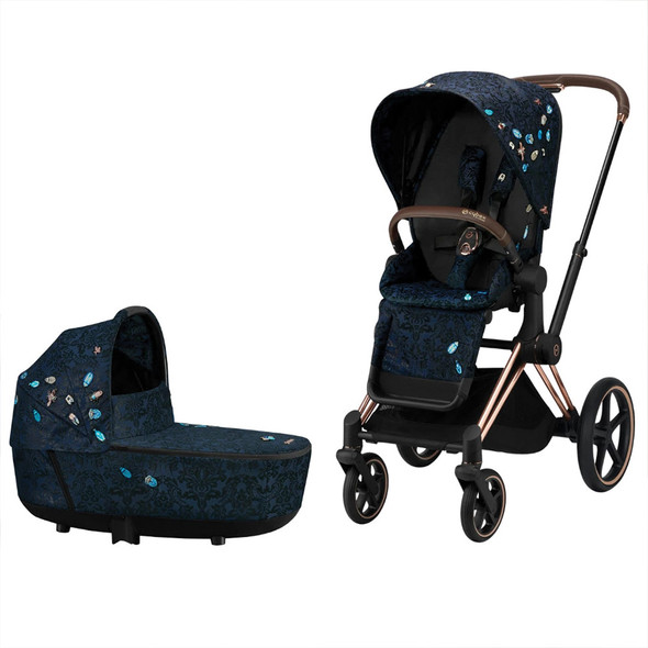 Cybex Priam Bundle - Jewels of Nature (Rose Gold Priam Frame, Seat Pack, Cot)