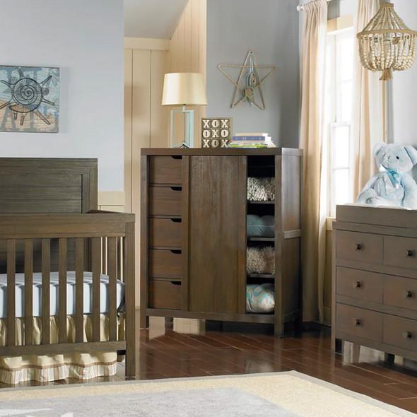 Ti Amo Killington 2 Piece Nursery Set - Full Panel Crib and Double Dresser in Weathered Brown