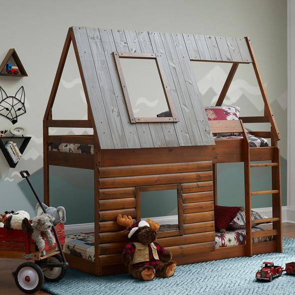 Ti Amo Rocky Mountain Log Cabin Bunk Bed Twin Bunk Bed in Brown/Grey