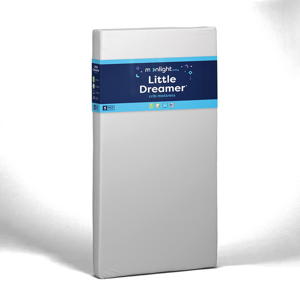 Moonlight Little Dreamer All Foam Crib Mattress - Dual Firmness w/White ribbon