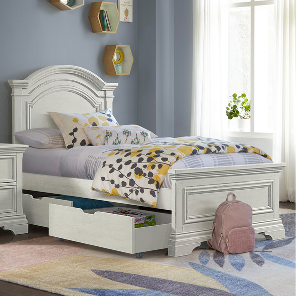 Westwood Olivia Youth Arch Top Complete Full Bed In Brushed White