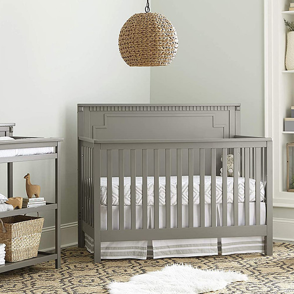 Westwood Emery Panel Convertible Crib In Grey
