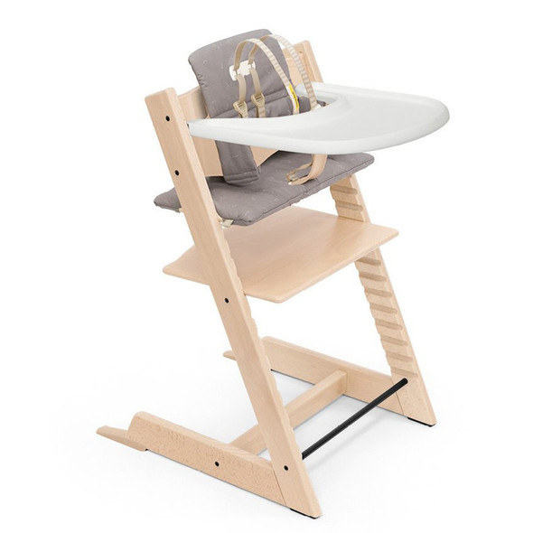 Stokke Tripp Trapp High Chair Complete (incl. Chair and matching babyset, Cushion and Tray) in Natural w Icon Grey