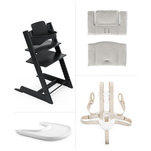 Stokke Tripp Trapp High Chair Complete (incl. Chair and matching babyset, Cushion and Tray) in Black w Nordic Grey