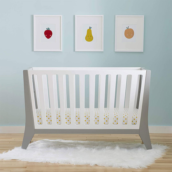 Kolcraft Contours Rockwell 3-in-1 Convertible Crib in White and Pebble Gray