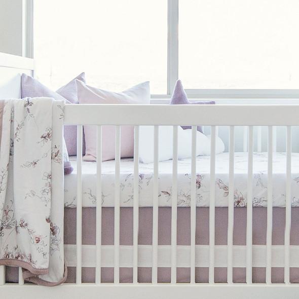 Oilo Lavender Woven Cotton Band Crib Skirt