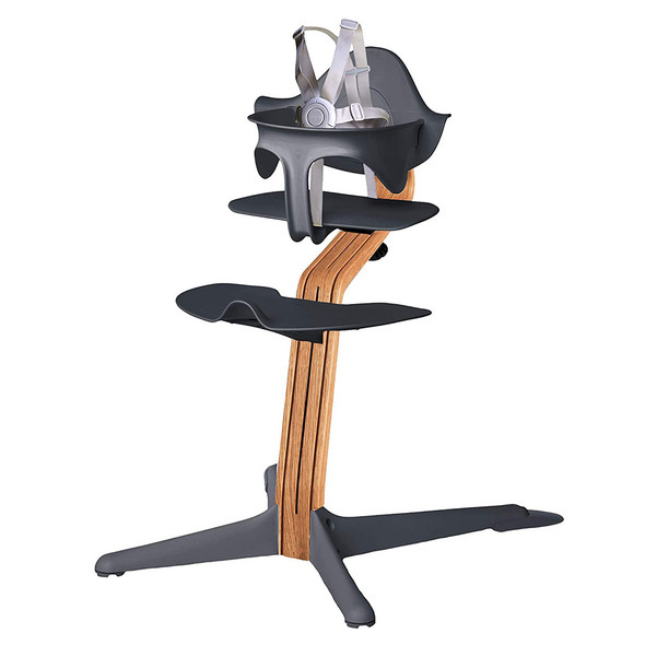 Nomi Highchair Anthracite in Natural Oak