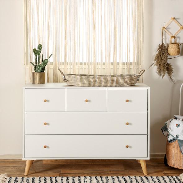 Dadada Austin 5-drawer dresser, white + natural