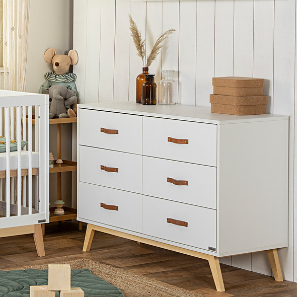 Dadada Tribeca 6-drawer dresser, white + natural