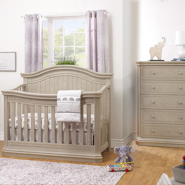 Sorelle Vista Elite Supreme 2 Piece Nursery Set in Heritage Fog - Crib and 5 Drawer Dresser