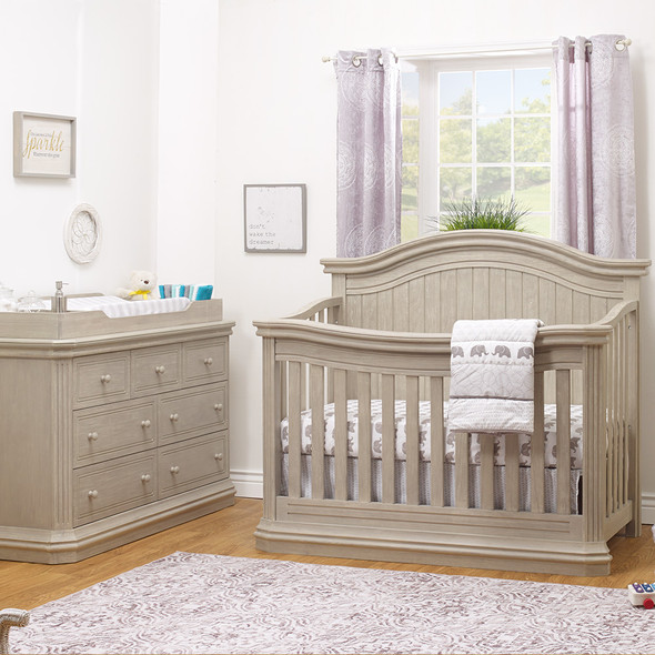 Sorelle Vista Elite Supreme 2 Piece Nursery Set in Heritage Fog - Crib and Double Dresser