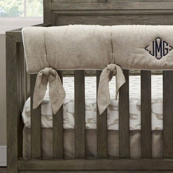 Liz and Roo Flax Linen Blend Crib Rail Cover with Flax Linen Knot Ties (sewn in)
