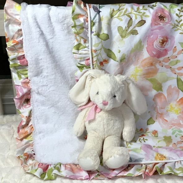 Liz and Roo Blush Watercolor Minky Receiving Blanket with WATERCOLOR RUFFLES