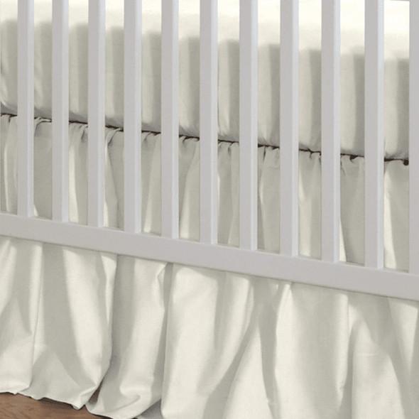 "Liz and Roo Ivory Linen Blend Crib Skirt (Gathered) 16"" Drop"