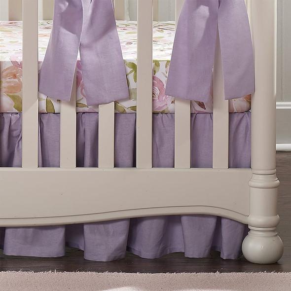 "Liz and Roo Lavender Linen Blend Crib Skirt (Gathered) 16""  Drop"