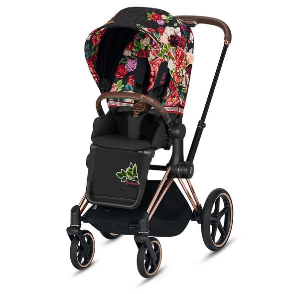 Cybex ePriam Rosegold Priam Stroller - Spring Blossom - Black