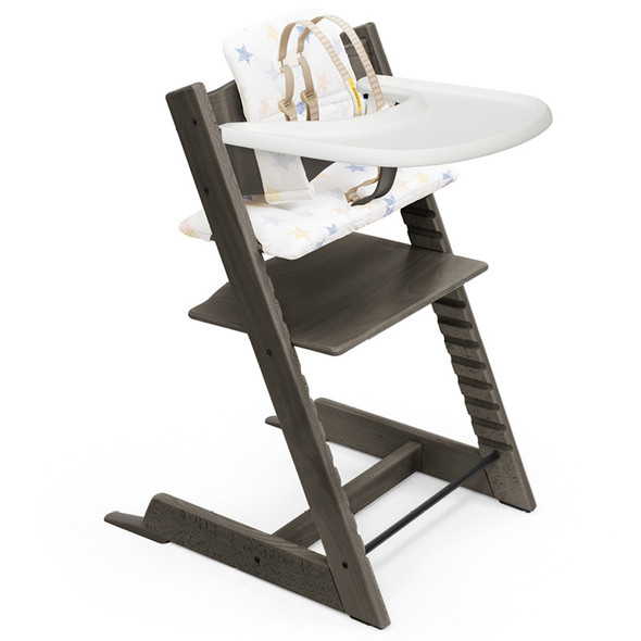 Stokke Tripp Trapp High Chair and Cushion with Stokke Tray (incl. Chair and matching babyset, Cushion and Tray) in Hazy Grey w Stars Multi