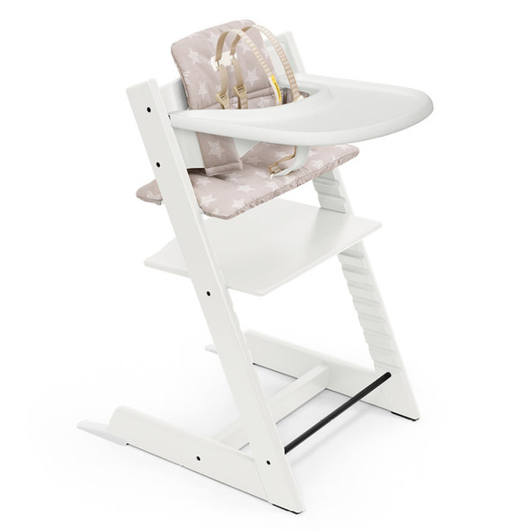 Stokke Tripp Trapp High Chair and Cushion with Stokke Tray (incl. Chair and matching babyset, Cushion and Tray) in White w Stars Silver