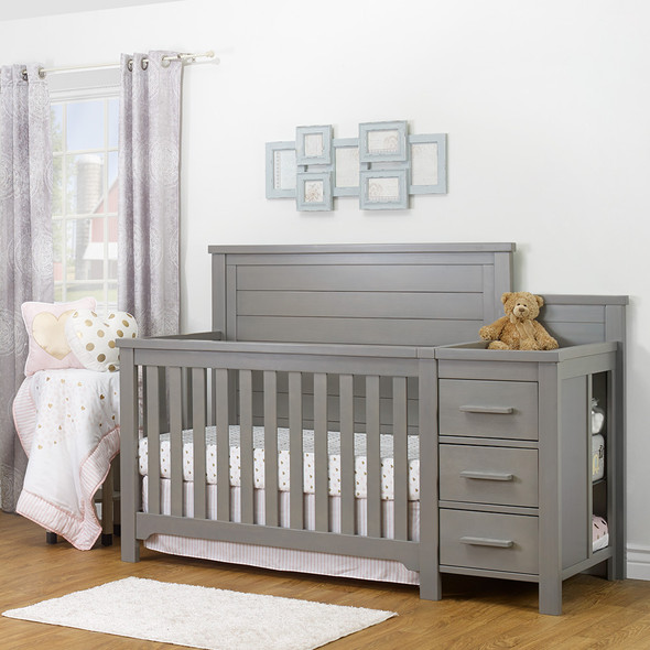 Sorelle Farmhouse Crib And Changer in Weathered Gray
