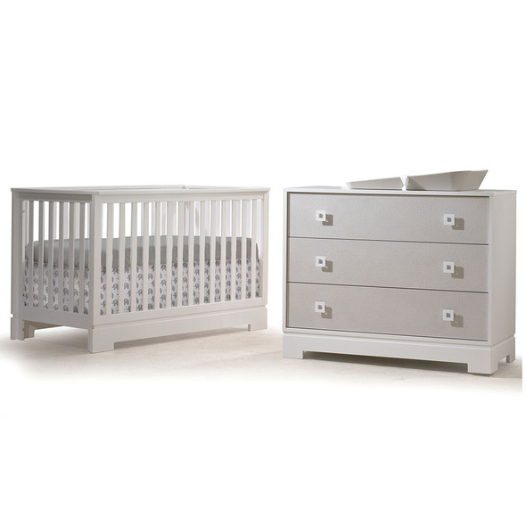 Tulip Olson Crib and Dresser in White/Mosaic