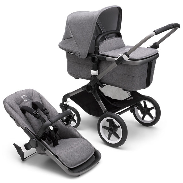 Bugaboo Fox3 Complete Stroller in Graphite/Grey Melange-Grey Melange