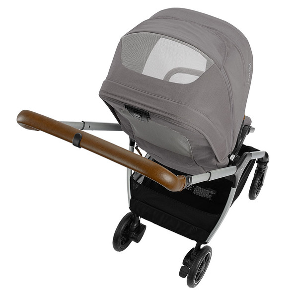Nuna TRIV Series Stroller with Magnetic Buckle in Frost – Back Right View