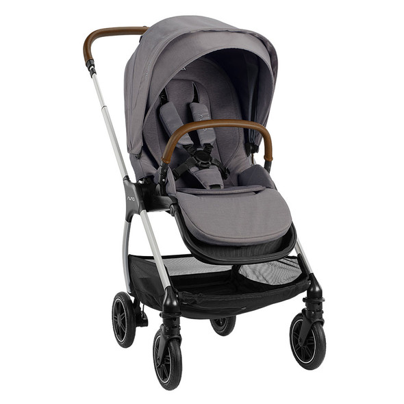 Nuna TRIV Series Stroller with Magnetic Buckle in Frost – Left Angle View