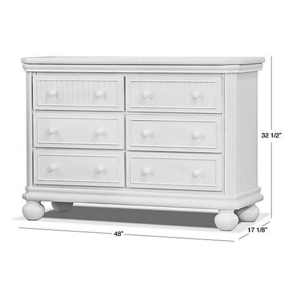 Sorelle Finley Lux RTA 6 Drawer Double Dresser in White