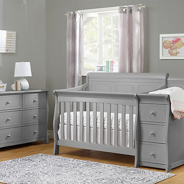 Sorelle Princeton Elite Panel Crib & Changer in Weathered Gray
