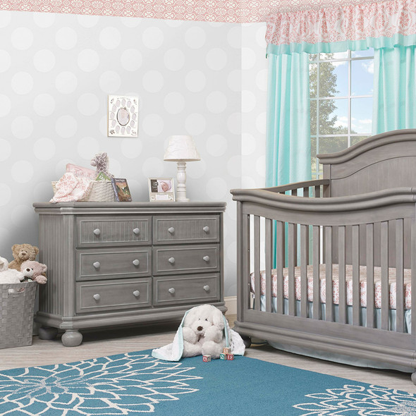 Sorelle Finley Lux RTA 6 Drawer Double Dresser in Weathered Gray