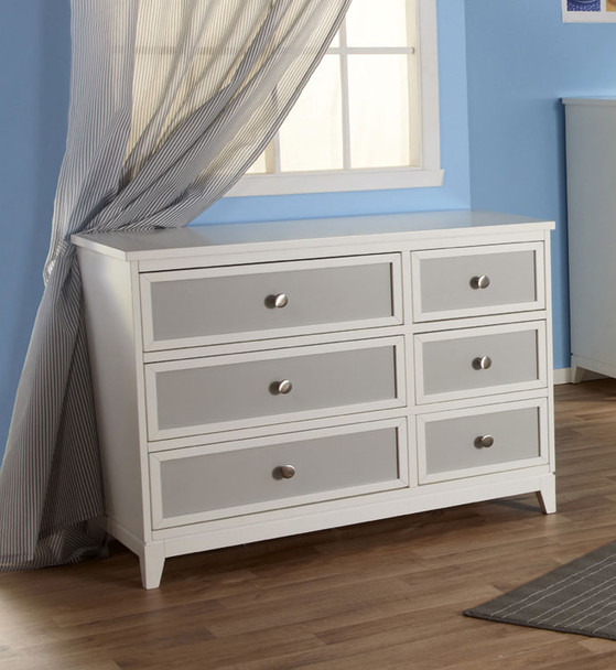 Pali Treviso Collection Double Dresser in White/Grey