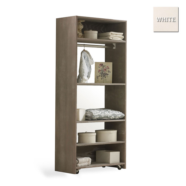 Natart Rustico Collection Convertible wardrobe system (included 3 shelves & 2 hanging rods) in White