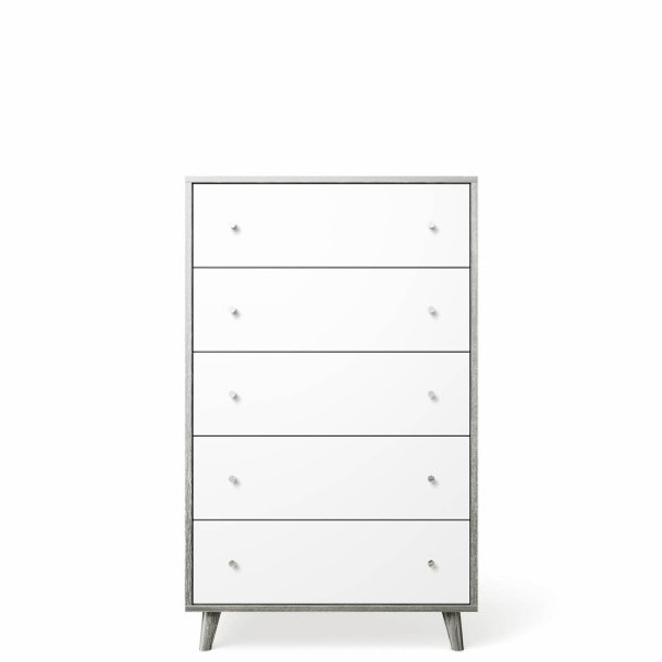 Romina New York 5 Drawers Chest in Silver Frost