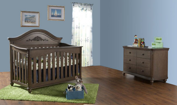 Pali Gardena 2 Piece Nursery Set - Crib, Double Dresser in Slate