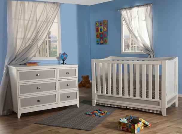 Pali Treviso 2 Piece Nursery Set  in White/Grey - Crib, Double Dresser