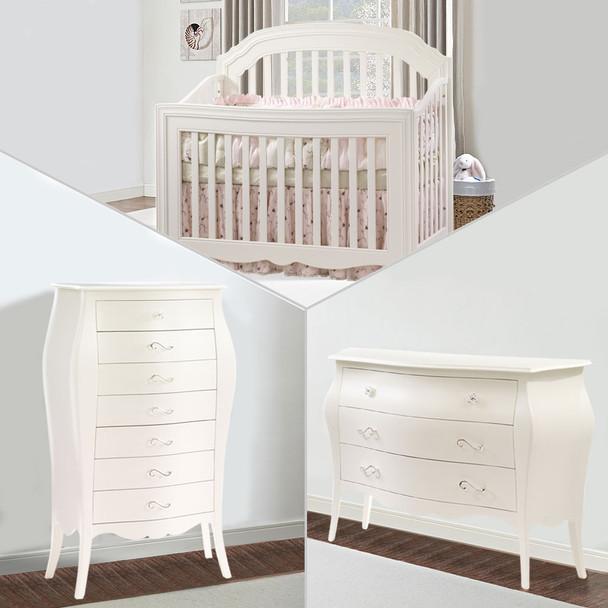 Natart Allegra 3 Piece Nursery Set in French White - Crib, 3 Drawer Dresser, and Lingerie Chest